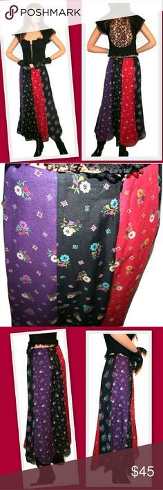 """Anna Sui Patchwork Paneled Skirt Beautiful patchwork skirt by designer Anna Sui.  Contrasting vertical floral print panels. Scalloped hemline. Back zipper.  Cotton/ silk voile fabric. Lined.   Made in USA   68% cotton 32% silk   Waist 28"""" Hips 38"""" Length 34 1/2"""" Anna Sui Skirts Maxi"""