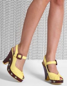 Miss L Fire Garland Ankle Straps w/Painted Floral Wooden Heels