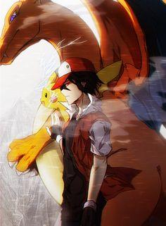 Red Trainer by Tabachichi.deviantart.com on @DeviantArt (Charizard & Pikachu)
