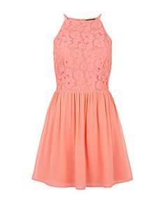 Teens Coral Lace High Neck Skater Dress  | New Look