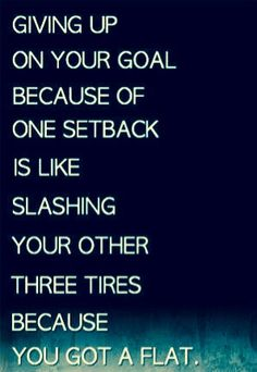 Giving up on your goal because of one setback is like slashing your other three tires because you got a flat. - In other words, keep going.