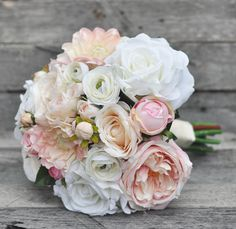 Wedding Flowers, Wedding Bouquet, Keepsake Bouquet, Bridal Bouquet Pink & Ivory Roses, Dahlias and R Bridal Bouquet Pink, Flower Bouquet Wedding, Bridesmaid Bouquet, Wedding Flower Design, Wedding Colors, Wedding Flower Packages, Flower Packaging, Faux Flowers, Silk Flowers