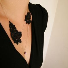 Romantic Black Lace Necklace