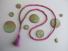 Gemstone Y Mala Tassel Necklace Plum Purple Natural Wood Buddhist Gift for Yoga Lover Spacer Beads Prayer Meditation Jewelry Gift for Yogi