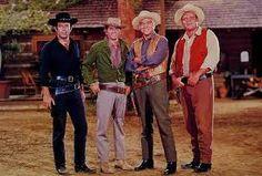 """Bonanza""  (1959–1973) Pernell Roberts, Michael Landon, Lorne Green, Dan Blocker."