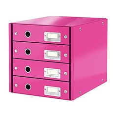 Leitz Drawer Cabinet, 4 Drawers, A4, Click and Store Range 60490023 - Pink £46