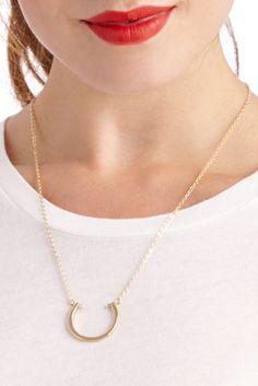 Open circle pendant necklace in 14k gold plated brass