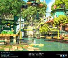 imperial boys imitation _ my portfolio / 원화 by. Fantasy City, Fantasy Places, Fantasy World, Landscape Concept, Fantasy Landscape, Landscape Art, Background Drawing, Animation Background, Environment Concept Art