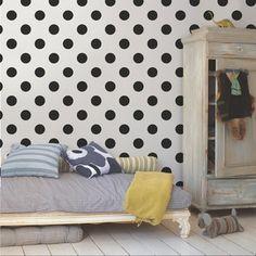 Vliesbehang stippen zwart (dessin 100104) | Behang | Behang | KARWEI Obi, Room Decor, Wall Decor, Graham Brown, Basic Colors, Bauhaus, Girl Room, Easy, Toddler Bed