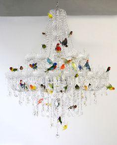 sebastian errazuriz perches taxidermied birds on a chandelier - designboom | architecture & design magazine