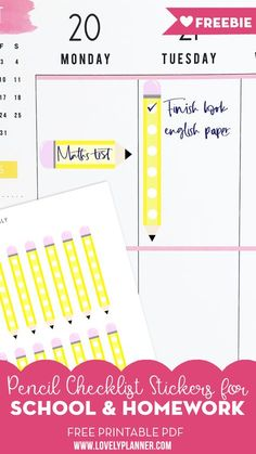Free Printable Pencil School Checklist Stickers - Lovely Planner Free Printable Pencil School Checklist Stickers to write down your homeworks and school activities in your planner + more Back to School free printables! Happy Planner Teacher Edition, Teacher Planner Free, Free Planner, Planner Pages, Planner Ideas, Planner Diy, Planner Supplies, Weekly Planner, Printable Planner Stickers