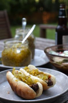 Appetizing sandwich - hot dogs with homemade zucchini pepper relish Quick Summer Meals, Summer Recipes, Zucchini Relish, Canned Zucchini, Chutney, Receta Bbq, Pepper Relish, Bell Pepper, Canning Recipes
