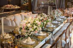 Arranjos de mesa: sofisticado, romântico e delicado.  Mesa de espelho não me agrada.