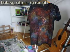 Artsy Angel: Galaxy Shirt Tutorial.  This would be really cool to do to a sheet and then hang up as a tapestry
