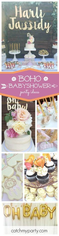 Such a beautiful Boho Baby Shower! The cake decorated with the flowers on top is simply stunning!