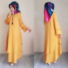 Image may contain: one or more people, people standing and text Modern Hijab Fashion, Abaya Fashion, Muslim Fashion, Modest Fashion, Fashion Dresses, Hijab Dress Party, Party Wear Dresses, Simple Outfits, Simple Dresses