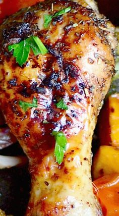 One Pan Balsamic Roasted Chicken and Vegetables