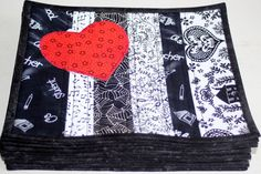 Quilted Mug Rug in black and white with by RedNeedleQuilts on Etsy