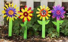 The flowers are made from plastic cups.  They are so vibrant!  Add a bible verse to the stem.