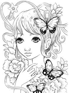 Foxie Fairy Tangles Printable Coloring Sheets by Norma J