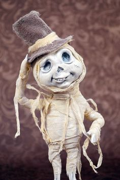Original Halloween OOAK Posable Skellington Mummy Art Doll by Hedegaard's G&C