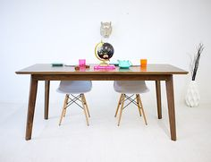 Mid century modern dining table table walnut by moderncre8ve