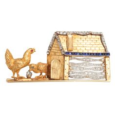 Farmhouse Brooch  USA  VINTAGE  14K TT VINTAGE ANIMAL:MOTHER HEN AND CHICK, FARM HOUSE PIN / BROOCH, 18.60 dwt., 1.00ct. TW MELEE, 0.50ct., SAPPHIRE