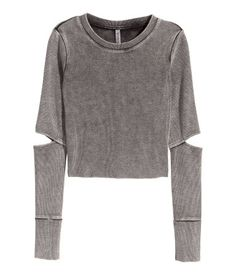Tricot crop top | Donkergrijs | Dames | H&M NL