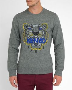 Sweat Col Rond Gris Anthracite Chiné Brodé Tigre Icons KENZO
