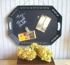 Vintage Upcycled Tray into Chalkboard by VintageHomeShop on Etsy, $35.00