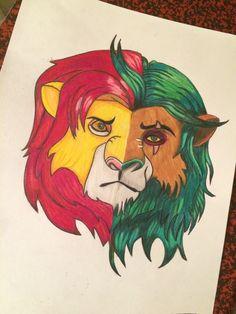 Dessin du roi lion, scar/Simba, couleurs