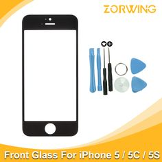 Best quality Front Glass For iPhone 5 5s Touch Screen Digitizer Panel LENS Replacement With tools in White And Black Color