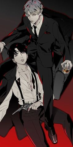 Taehyung is a 22 year old mafia boss in secret company, while Jungkook is an 18 year old who is going to school and works a part time job. Taehyung decides to hire Jungkook as his personal killer? Fanart Bts, Taehyung Fanart, Vkook Fanart, Bts Anime, Anime Boys, Tomoyo Sakura, Pokerface, Image Manga, Levi X Eren