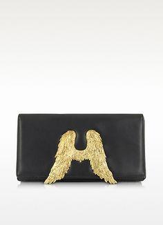 Bernard Delettrez Black Nappa Leather Clutch w/ Angel Wings