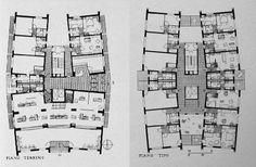 Planta tipa de viviendas en Hansaviertel, por Luciano Baldessari, en Hansaviertel, Berlin, Alemania, en 1954/1958
