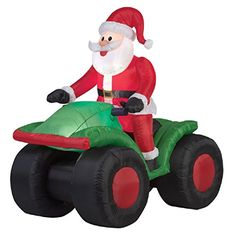 Christmas Inflatable Animated Santa On 4 Wheeler ATV By Gemmy Animated Christmas Decorations, Outside Christmas Decorations, Christmas Ornaments, Seasonal Decor, Holiday Decor, Christmas Inflatables, Camping Theme, Cool Animations, Atv