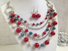 America The Beautiful Patriotic Americana Necklace Earring Set by HighStrungBeading via Etsy