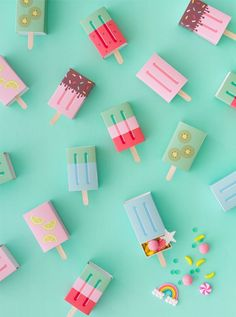 DIY Popsicle Favor Boxes l Oh Happy Day l Great gift box to make yourself l stre . - DIY Popsicle Favor Boxes l Oh Happy Day l Great Gift Box Make Yourself L Matchbox Ice Cream - Diy Instagram, Diy For Kids, Crafts For Kids, Summer Crafts, Diy And Crafts, Paper Crafts, Doll Crafts, Ideias Diy, How To Make Box