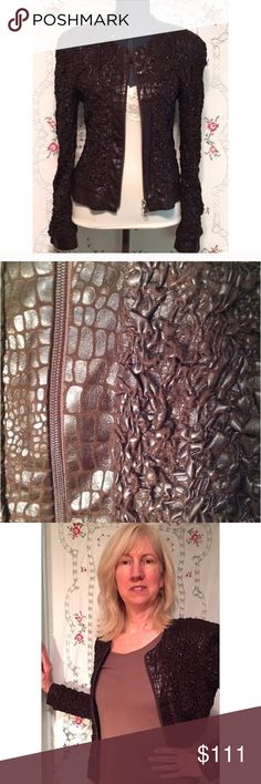 Joseph Ribkoff Designer Jacket Vegan Snakeskin Canadian Designer Joseph Ribkoff trendy jacket just in time for the holidays. Dress it up with a long skirt or wear it more casually with your favorite jeans. Cuffs, placket and band are vegan snakeskin, body is a pebbled texture. The color reminds me of dark chocolate fudge! Joseph Ribkoff  Jackets & Coats
