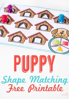 FREE Puppy Shape Matching Game for kids - this early math game for toddler, preschool, kindergarten is great for helping kids identify shapes