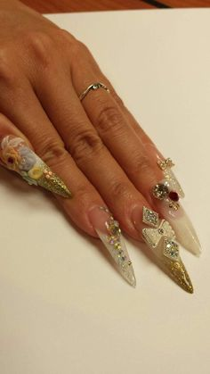Nails by Kupa Star Educator Ann! She did these on her own hands for a trade show event! Kupa Charms Artfinity Embellishments available at www.kupainc.com