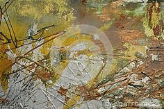 Abstract silver and golden strokes of oil painting on canvas.