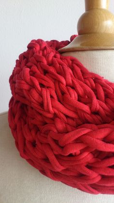 Puce goes XL - Round stone red knit scarf, made from t-shirt yarn.