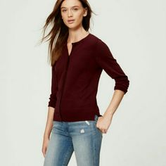 Loft burgundy cardigan Burgundy. Hi-lo hem. Side slits. Long sleeves. Crew neck. 100% cotton.  1st pic is to show style only. LOFT Sweaters Cardigans