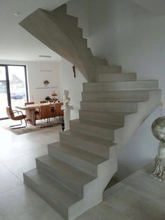 This is also true for that basement stairs. Concrete Staircase, White Staircase, Escalier Design, Exposed Concrete, Basement Stairs, Interior Stairs, Stair Storage, Stairway To Heaven, Architect House