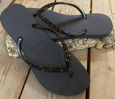 916dc148a591 Custom Black Havaianas Slim or Cariris flat Flip Flops w  Swarovski Crystal  Jewels Beach Cruise Thongs Vacation Rhinestone Reception Shoe