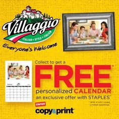 Collect only 4 UPC's from participating Villaggio products and get a FREE personalized calendar from Staples! Copy Print, Italian Style, Coupons, Calendar, Coding, How To Get, App, Friends, Free