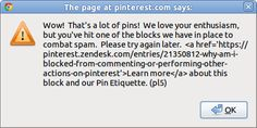 Yes @Pinterest, it is enormously helpful when you send me links in an alert() dialog. |-(