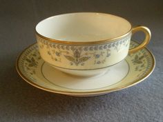"""Haviland & Co. Limoges Arts & Crafts """"English Oatmeal"""" Pattern - Set of 6 Cups & Saucers"""
