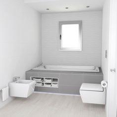 Baño diseñado por Fábrica de Arquitectura para una vivienda unifamiliar en una urbanización de Carmona (Sevilla). Tanto los materiales como los aparatos sanitarios son de Porcelanosa. Alcove, Bathtub, Bathroom, Gadgets, Sevilla, Architecture, Interiors, Standing Bath, Bath Room